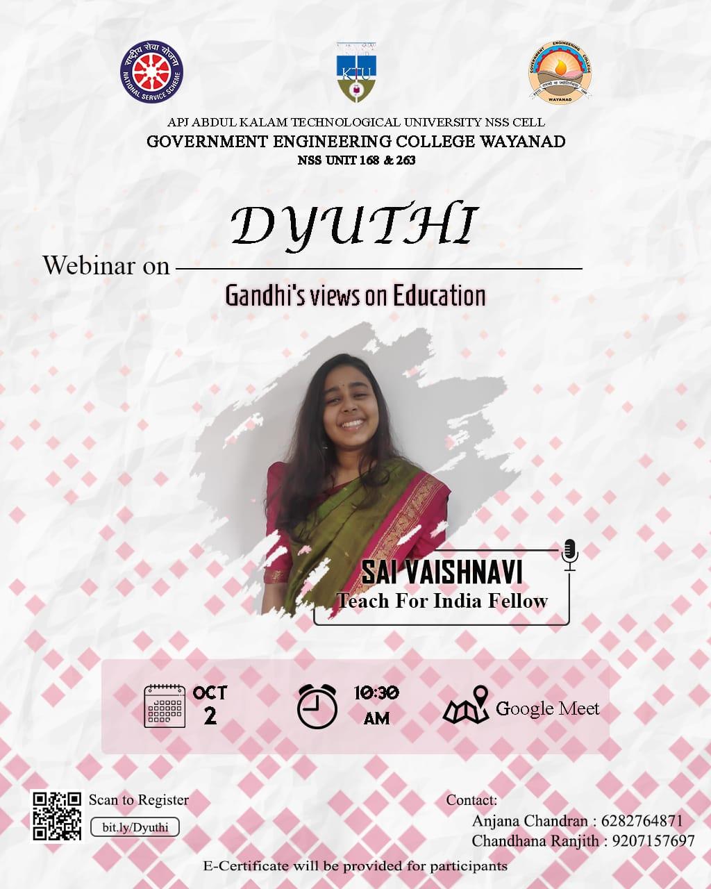 Webinar on Dyuthi, NSS